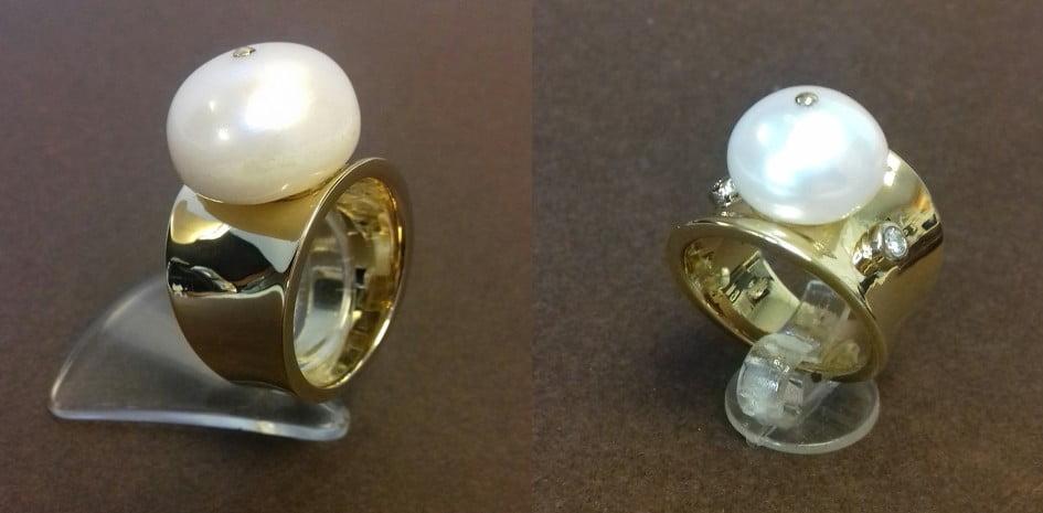 18 KRT GEELGOUDEN RINGEN BOUTON PARELS EN 1 RING MET DIAMANT