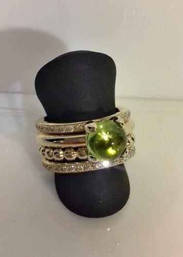 ringen edelsmid atelier goud diamant peridot