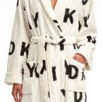 fleece bathrobe dkny logo