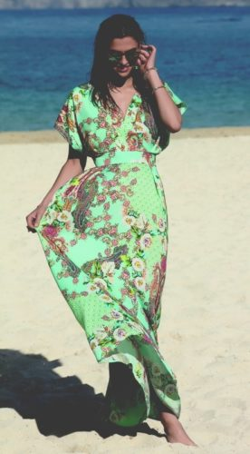 lise charmel swimwear robe fleurs lagon