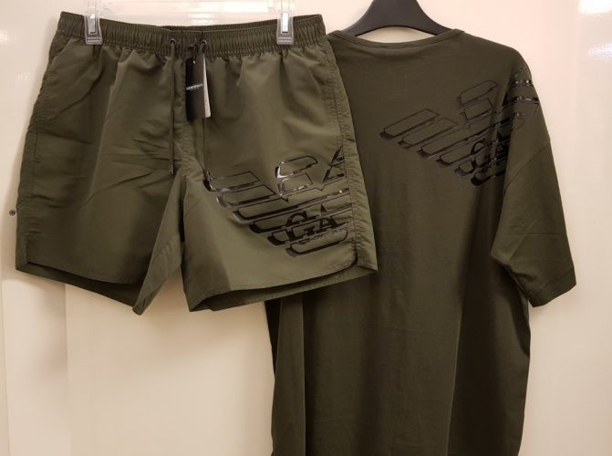emporio armani badmode military green t-shirt zwemshorts