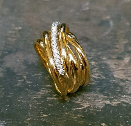 RING LABGROEN DIANT GEELGOUD 18K