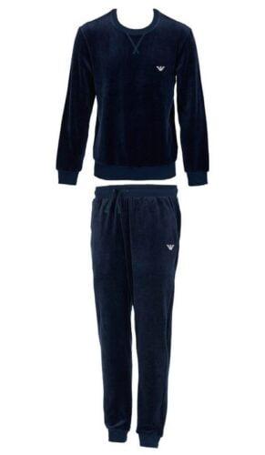 armani heren pyjama velours tracksuit loungewear 0a589 blauw