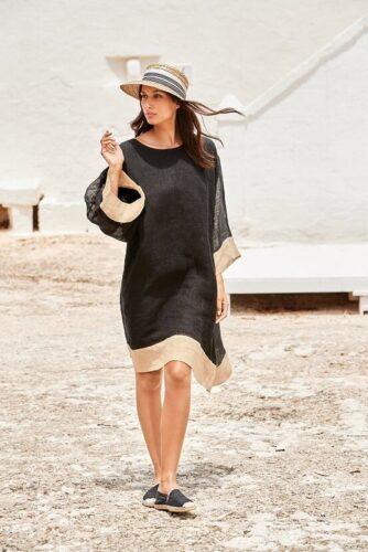 aruba linen kaftan dress zwart 106